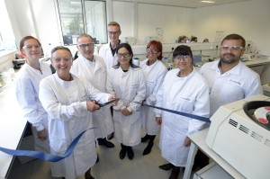 Carla Jones, CEO Allergy UK, cuts the ribbon at Eurofins UK Allergen testing lab